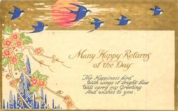 MANY HAPPY RETURNS OF THE DAY  sun, swallows, blossom