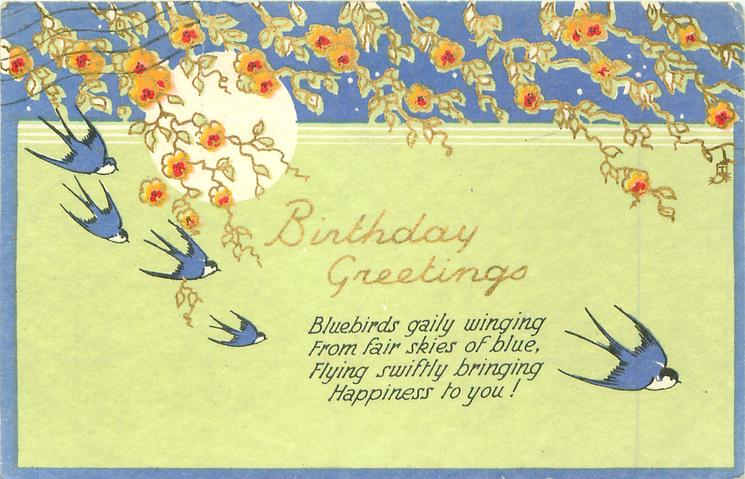 BIRTHDAY GREETINGS swallows, sun , flowers
