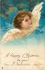 A HAPPY CHRISTMAS TO YOU  FROM... angel looks right & up, mouth closed, clouds