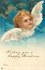 WISHING YOU A HAPPY CHRISTMAS  FROM... angel looks right & up, mouth open, clouds