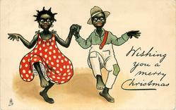 WISHING YOU A MERRY CHRISTMAS  black couple dance cake walk holding hands