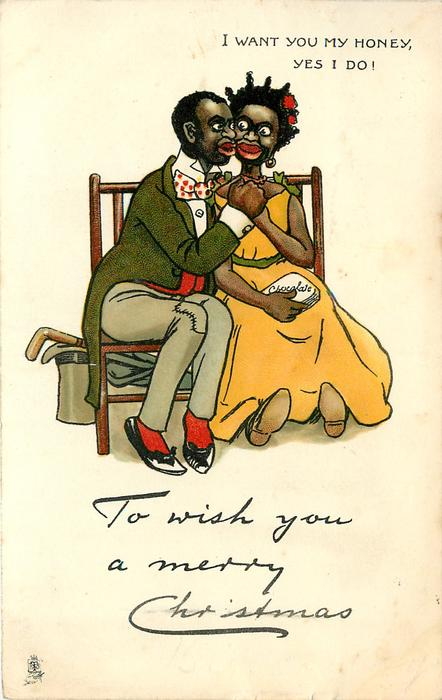 TO WISH YOU A MERRY CHRISTMAS  I WANT YOU MY HONEY, YES I DO!  black couple sit on bench holding hands