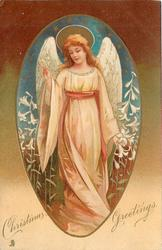 CHRISTMAS GREETINGS  white robed angel, lilies around