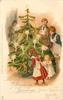 LOVING CHRISTMAS GREETINGS  family round tree, santa in brown robe peeks