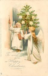 TO WISH YOU A HAPPY CHRISTMAS  two angels, right angel holds tree, left has book in left hand