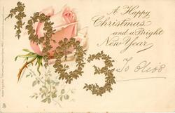 A HAPPY CHRISTMAS AND A BRIGHT NEW YEAR  1903 in gilt  rose