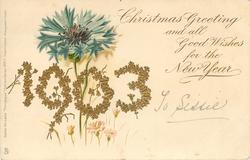 CHRISTMAS GREETING AND ALL GOOD WISHES FOR THE NEW YEAR 1903 blue cornflower