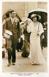 THEIR MAJESTIES KING GEORGE VI AND QUEEN ELIZABETH  he with white top hat, she with umbrella