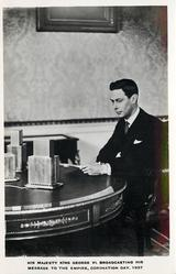 HIS MAJESTY KING GEORGE VI BROADCASTING HIS MESSAGE TO THE EMPIRE, CORONATION DAY 1937