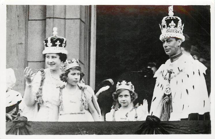 THE CROWNED KING AND QUEEN WITH THE PRINCESS ELIZABETH AND THE PRINCESS...PALACE
