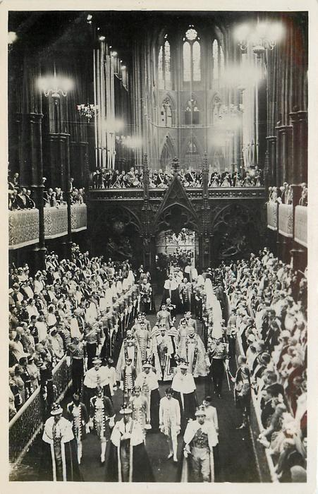 THE SCENE INSIDE WESTMINSTER ABBEY AS THE KING PROCEEDS TO LEAVE AT THE CONCLUSION...