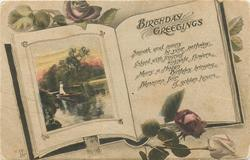 BIRTHDAY GREETINGS  on open book, verse, picture in book left, rose above & below
