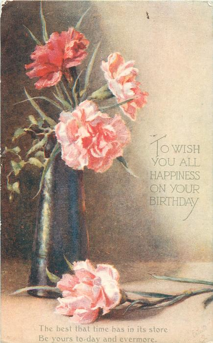 TO WISH YOU ALL HAPPINESS ON YOUR BIRTHDAY  carnations
