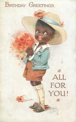 BIRTHDAY GREETINGS, ALL FOR YOU!  black boy carrying red flowers