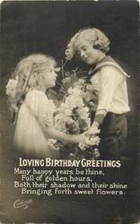 LOVING BIRTHDAY GREETINGS  girl left, boy right, boy has sailor suit, hold hands, flowers between