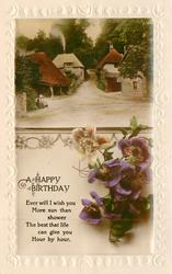 A HAPPY BIRTHDAY inset village street at crossroads, anemones below