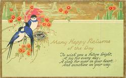 MANY HAPPY RETURNS OF THE DAY swallows, nest, flowers