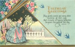 BIRTHDAY GREETINGS flowers above inset of lady in blue with pink scarf holding out hand to bluebird