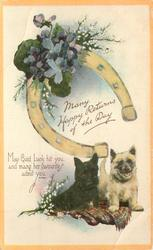 MANY HAPPY RETURNS OF THE DAY cairn & scottie, horseshoe, heather, violets