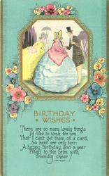 BIRTHDAY WISHES inset of two ladies and a gentleman in old style dress, stylised flowers around, blue background