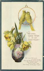 WITH EVERY GOOD WISH FOR YOUR BIRTHDAY  two canaries above vase of daffodils