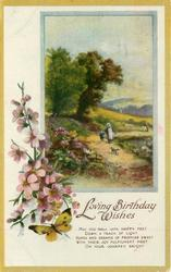 LOVING BIRTHDAY WISHES blossom & butterfly left, rural inset