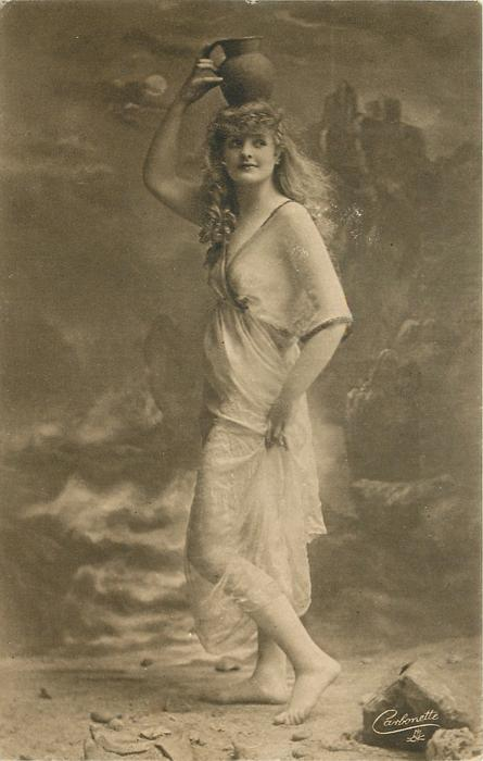 moonlit rocky beach scene, girl poses with water pitcher on her head, held with right hand, she faces left and looks right