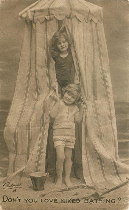 DON'T YOU LOVE MIXED BATHING?  boy & girl in front of striped bathing tent