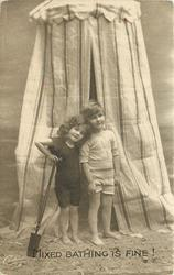 MIXED BATHING IS FINE!  boy & girl in front of striped bathing tent