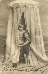 WE LOVE MIXED BATHING!  boy & girl in front of striped bathing tent