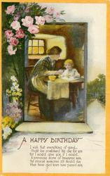 A HAPPY BIRTHDAY flowers left, inset mother & child at table, orange borders