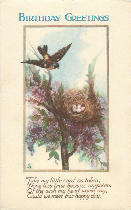 BIRTHDAY GREETINGS  bird, nest & eggs