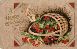 BEST WISHES (on label)  attatched to basket of holly