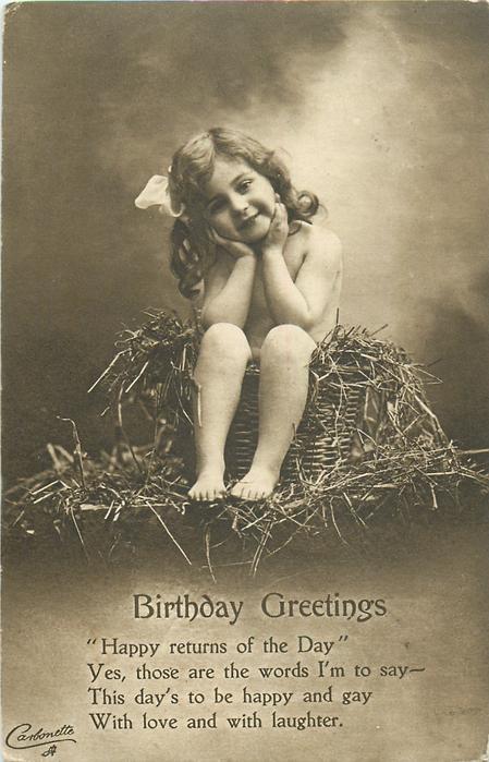 BIRTHDAY GREETINGS  nude child in basket