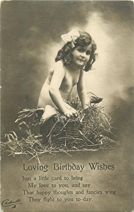 LOVING BIRTHDAY WISHES  nude child in basket