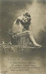 TO GREET YOUR BIRTHDAY  nude child in basket
