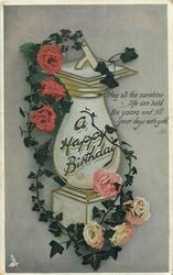 A HAPPY BIRTHDAY  sundial & roses