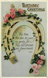 BIRTHDAY GREETINGS  roses & horseshoe