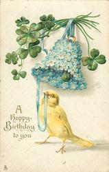 A HAPPY BIRTHDAY TO YOU  canary, forget-me-not bell, 4 leaf clover