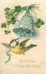 TO WISH YOU A HAPPY BIRTHDAY  tit, forget-me-not bell, 4 leaf clover