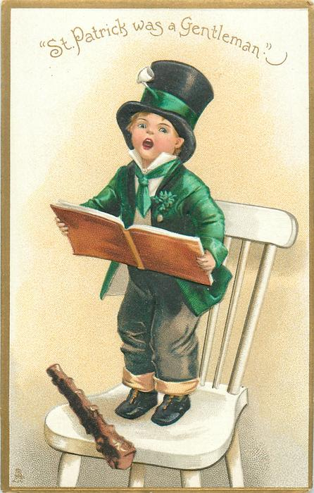 """ST. PATRICK WAS A GENTLEMAN.""  boy stands on chair, singing, holding book"
