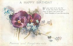 A HAPPY BIRTHDAY, PANSIES AND FORGET-ME-NOTS