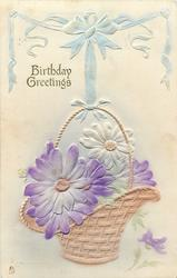 BIRTHDAY GREETINGS  daisies in basket held up by blue ribbon