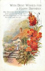 WITH BEST WISHES FOR A HAPPY BIRTHDAY  wallflowers, cottage