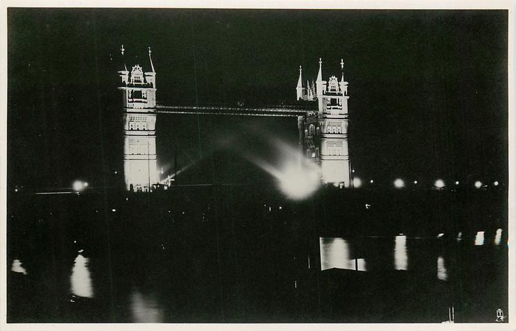 LONDON'S SILVER JUBILEE FLOODLIGHTING, THE TOWER BRIDGE