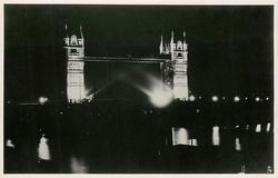 LONDON'S SILVER JUBILEE FLOODLIGHTING, THE TOWER BRIDGE