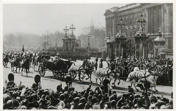 THE KING AND QUEEN LEAVING BUCKINGHAM PALACE... CATHEDRAL