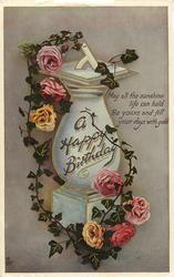 A HAPPY BIRTHDAY  sundial, roses & ivy