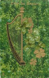 ERIN GO BRAGH  at top of card, harp faces front, no flag
