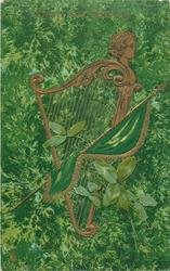 ERIN GO BRAGH  at top of card, harp faces right, flag
